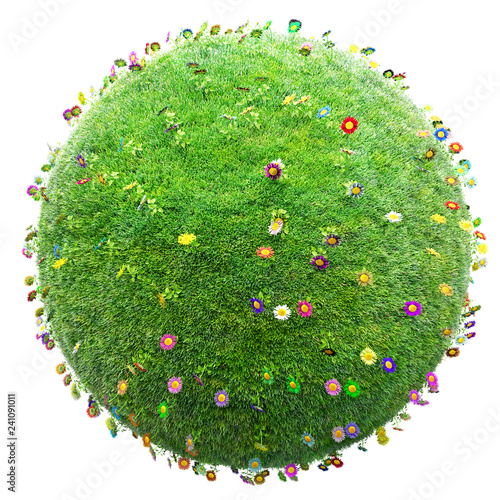 green grass and flowers planet on white background - 241091011