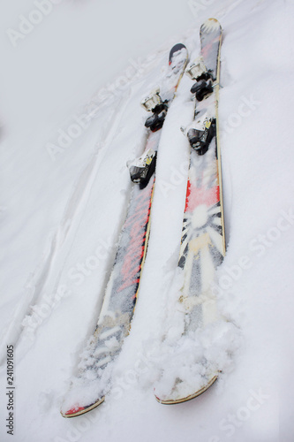 Skiing twintip. Ski twintip interesting lying in the snow. Freestyle, slopestyle skiing