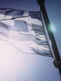 Greek flag waving o wind. - 241094003