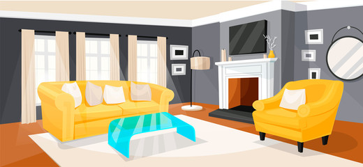 Living room modern home design and interior © Vikivector