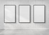 Three frames hanging on a wall mockup 3d rendering - 241105636