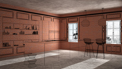 Home renovation, house development concept background, interior design under construction, custom architecture design project, black ink sketch, blueprint showing minimalist kitchen © ArchiVIZ