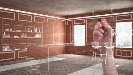 Home renovation, house development concept background, interior design under construction with hand drawing custom architecture, white sketch, blueprint showing modern kitchen © ArchiVIZ