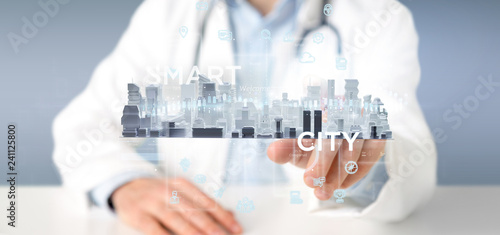 Doctor holding Smart city user interface with icon, stats and data 3d rendering