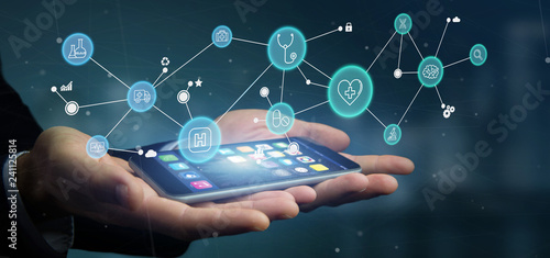 Foto Murales Businessman holding Medical icon and connection 3d rendering