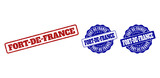 FORT-DE-FRANCE scratched stamp seals in red and blue colors. Vector FORT-DE-FRANCE labels with grunge surface. Graphic elements are rounded rectangles, rosettes, circles and text labels. - 241133815