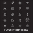Future technology editable line icons vector set on black background. Future technology white outline illustrations, signs,symbols