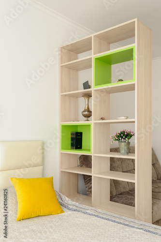 Bedroom interior with bookshelf