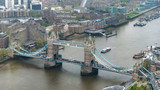 Aerial view of Tower Bridge in London