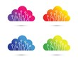 colourful abstract cloud computer chip icon set