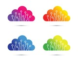 colourful abstract cloud computer chip icon set - 241175881