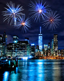 Fireworks over New York City skyscrapers