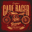 Vintage Cafe Racer Motorcycle Poster. Vector illustration. T-shirt design