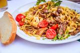 Fresh Mediterranean pasta with beef, Italy