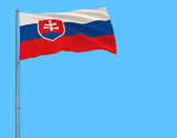 Isolate flag of Slovakia on a flagpole fluttering in the wind on a blue background, 3d rendering