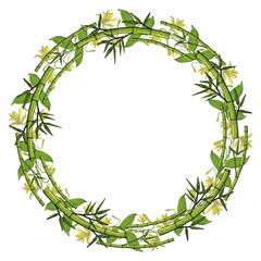 Wreath from bamboo, floral round border © akini