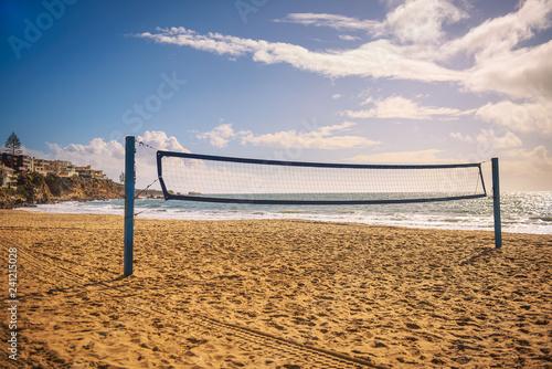 Beach volleyball net on the Corona del Mar State Beach near Los Angeles