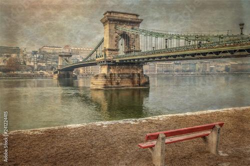 mata magnetyczna Chain Bridge (Széchenyi Lánchíd) in Budapest, Hungary