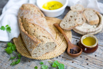Italian type bread with olive oil and spices.
