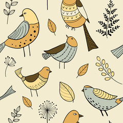 Seamless pattern with cute hand drawn doodle birds