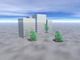 costruzione moderna con piante