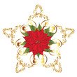 Christmas banner with poinsettia