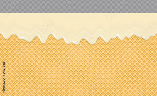 Candy icing melted on Wafer Background. Cream flow soft seamless texture. Vector Illustration.