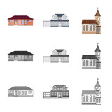 Vector design of building and front logo. Collection of building and roof stock vector illustration.