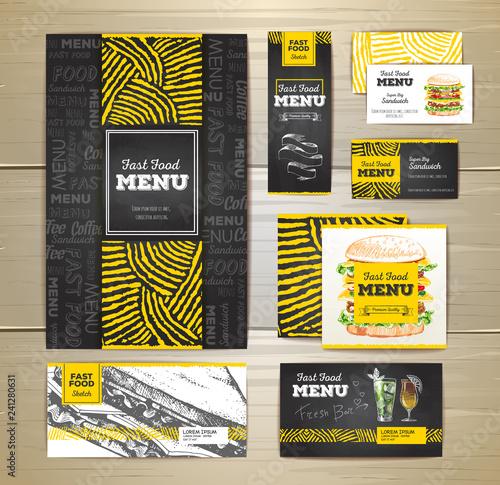 Fast food menu document template. Corporate identity