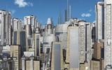 Stadtansicht mit futuristischen Wolkenkratzern - 241280891