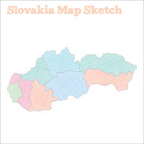 Slovakia map. Hand-drawn country. Comely sketchy Slovakia map with regions. Vector illustration.