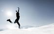 Quadro Sprung im Schnee