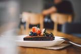 Vegan raw chocolate flourless piece of cake - 241296401