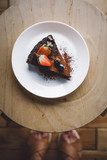 Vegan raw chocolate flourless piece of cake - 241296607