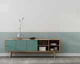 Stylish interior with wooden chest of drawers - 241300629