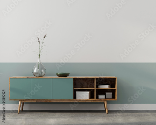 Stylish interior with wooden chest of drawers