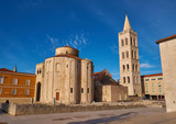 View of the Church of St Donatus architecture of 1th century old town of Zadar,  main  square - 241308487