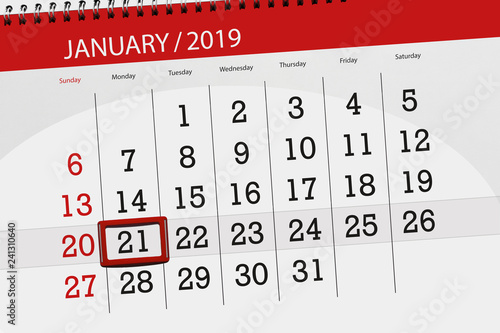 Calendar planner for the month january 2019, deadline day, 21, monday