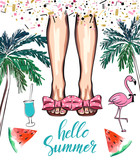 Fashion print. Hand drawn sketch woman legs in flip flops. In the background   flamingo and palm tree. Vector illustration - 241312273