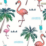 Abstract seamless pattern with flamingo. Summer tropical design. Vector illustration - 241312294
