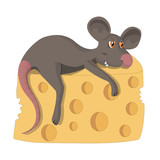 A contented rat with a piece of cheese. The illustration is divided into separate layers: rat, cheese, background.