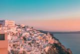 Iconic Greek sunset in Fira village in Santorini, Greece