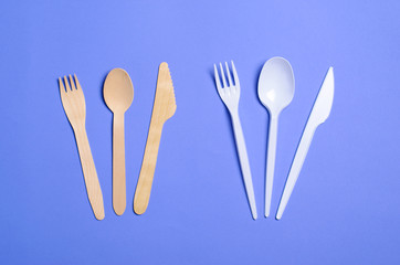 Plastic and Bamboo Cutlery, Plastic Pollution Concept, Top View © julie208