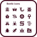 Vector icons pack of 16 filled beetle icons