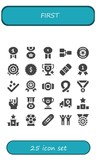Vector icons pack of 25 filled first icons - 241341859