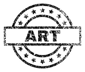 ART stamp seal watermark with distress style. Designed with rectangle, circles and stars. Black vector rubber print of ART text with retro texture. © Evgeny