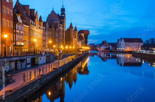 obraz lub plakat Gdansk at night with reflection in Motlawa river, Poland