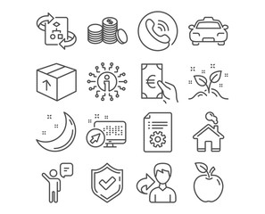 Set of Technical algorithm, Agent and Finance icons. Technical documentation, Taxi and Home signs. Startup concept, Banking money and Package symbols. Project doc, Business person, Eur cash. Vector