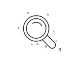 Search line icon. Magnifying glass sign. Enlarge tool symbol. Geometric shapes. Random cross elements. Linear Search icon design. Vector - 241344840