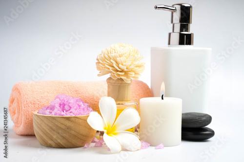 beautiful spa treatment set isolate on white - 241345687